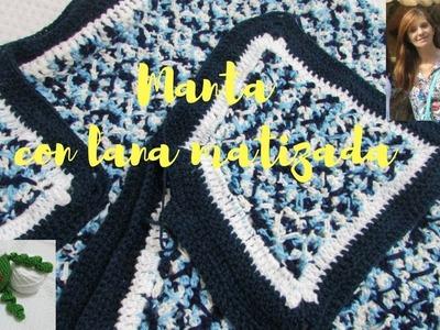 Como tejer manta  en crochet con lana matizada y punto fantasìa.