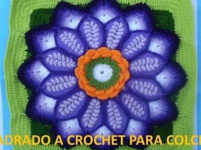 Cuadrado a crochet FLOR EN PUNTO ROCOCO paso a paso para colchas y cojines