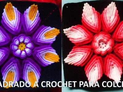 Cuadrado o Muestra crochet ganchillo paso a paso para colchas y cubrecamas