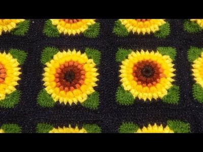 Cuadrado pequeño a crochet en puntos garbanzos paso a paso para colchas y cubrecamas