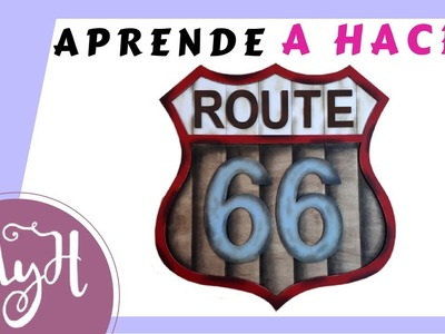 Decorar un cartel para casa con manualidades DIY ????Ruta 66????