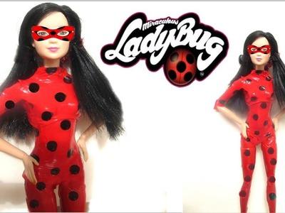 DIY - Barbie se disfraza  de Ladybug ¡sin coser! facil