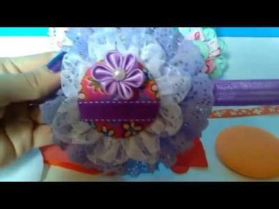 DIY Diadema con flor de tela y botón forrado flor kanzashi