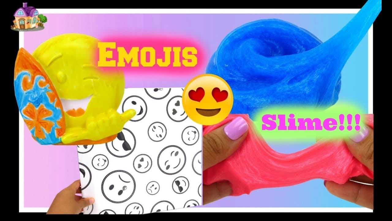 DIY   Haciendo Slime y Coloreando Figuras de Vinil y Cuadro de Emojis