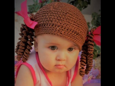 Hacer rizos a crochet. Gorro de Bebé o niña con Coletas!