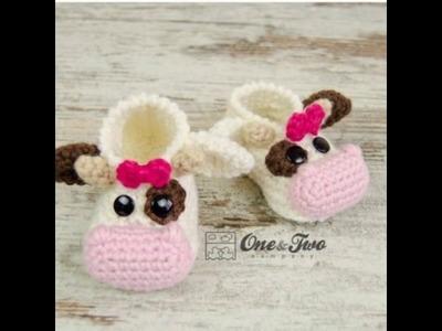Patucos de bebé a crochet con diseños de animalitos