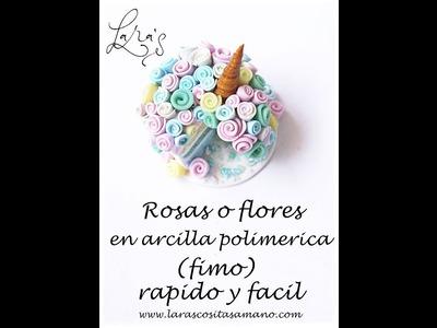Rosa en arcilla polimerica (fimo) fácil y rápido - Polymer clay flower