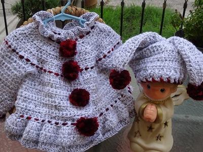 Sueter a crochet con Pompon para niña de 3 Años