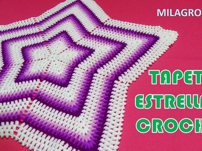 Tapete o carpeta a crochet ESTRELLA EN PUNTO PUFF O GARBANZO paso a paso en video tutorial