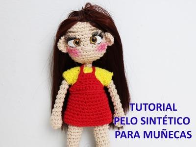 Tutorial, como poner pelo sintético a muñeca de crochet (pelo sintético)