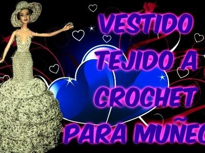 Vestido para muñeca barbie tejido a crochet CORTE SIRENA TUTORIAL PASO A PASO by Alexandra Sacasa