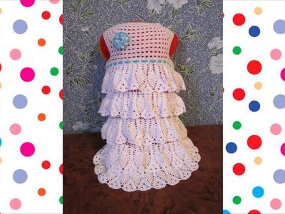Vestido tejido a crochet para niña de 8 años