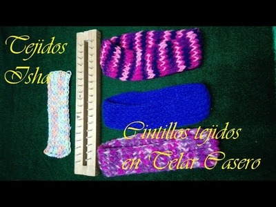 30.- Cintillo o Bufanda en punto Elastico Tejido en Telar Casero Paso a Paso