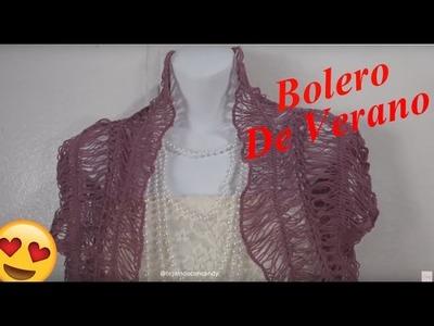 Bolero de verano tejido con crochet y  horquilla