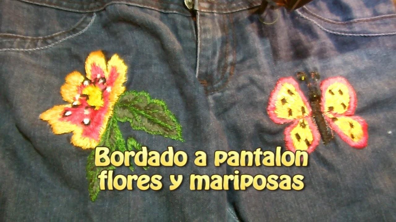 Bordado a pantalon flores y mariposas |Creaciones y manualidades angeles