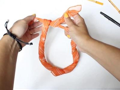 #DIY Collar bonito MUY FÁCIL con pañuelo en 40 segundos #REUSAR
