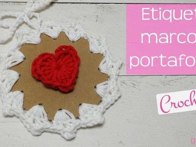 Etiqueta | Portafotos | Tarjeta de regalo de ganchillo. Tag | Photo holder | Gift card crochet