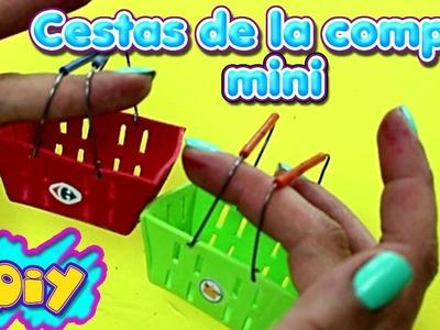 Mini Cestas de supermercado DIY | Miniaturas cestas Carrefour y Mercadona | Manualidades para niños