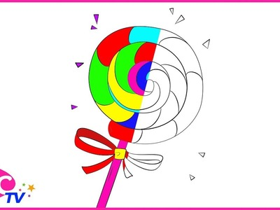 ????????????Como Dibujar Candy Lollipop de Arco Iris - Dibujos Para Niños - Learn Colors. FCC TV