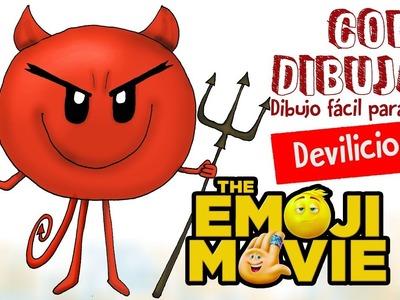 Como dibujar Devilicious the emoji movie. How to draw Devilicious