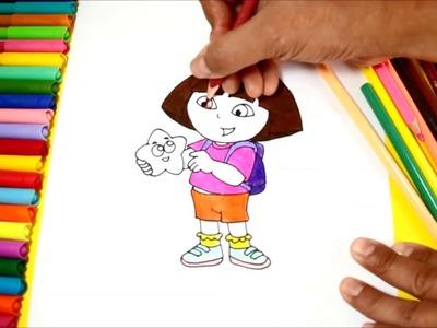 Cómo dibujar y colorear a Dora La Exploradora   Dibujos para Niños   Learn Draw