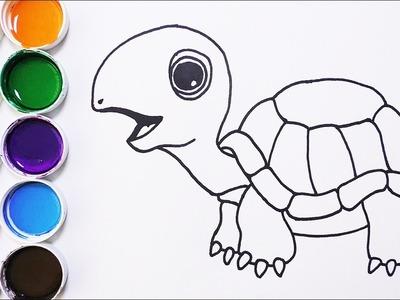 Cómo Dibujar y Colorear Tortuga de Arco Iris - Dibujos Para Niños - Learn Colors. FunKeep