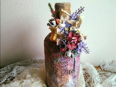 Cómo reciclar y decorar una botella - TUTORIAL PASO A PASO - Altered bottle.