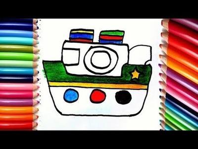 Dibuja y Colorea un Barco  de arco iris - Dibujos para niños. How to draw a boat step by step