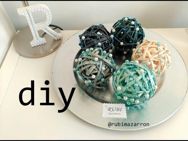 Diy. Bolas o esferas de rafia decoradas