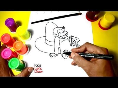 Jorge El Curioso Aprender a dibujar | Dibujos de Jorge El Curioso para Pintar con Témperas