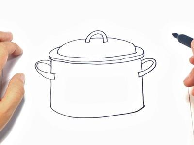 Como dibujar un Cacerola para niños   Dibujo de Cacerola paso a paso
