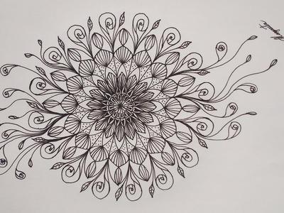 Como Dibujar un Hermoso Mandala Simétrico, fácil. How to Draw a Beautiful Symmetrical, Easy Mandala
