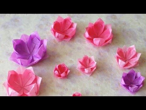 Como hacer flor de loto en origami- flor de loto con papel