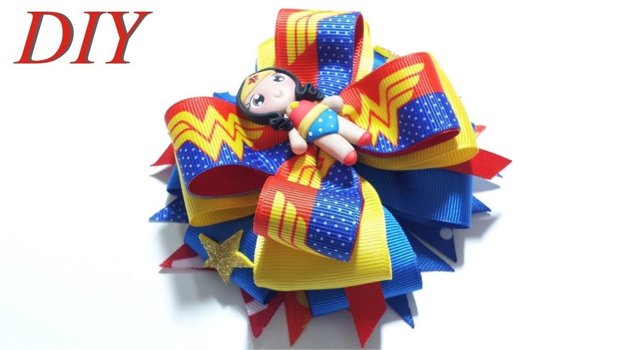 Como Hacer Lazos ???? DIY #156 Lazo Apilado Inspirado en La Mujer Maravilla