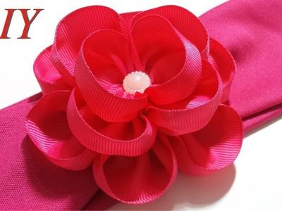Como Hacer Lazos ???? DIY #158 Flor Con Cinta Gros en Banda Tutorial