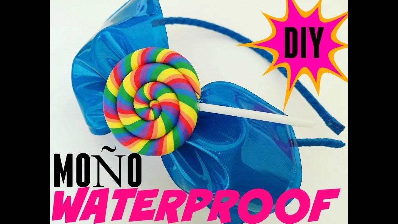 Como hacer un  Moño de PLASTICO y LISTON . DIY: How to make a PLASTIC WATERPROOF hair bow