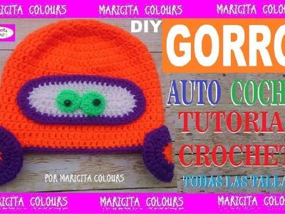 """D.I.Y. Cómo tejer un Gorro Carro  - Coche a Crochet """"Tony"""" por Maricita Colours"""
