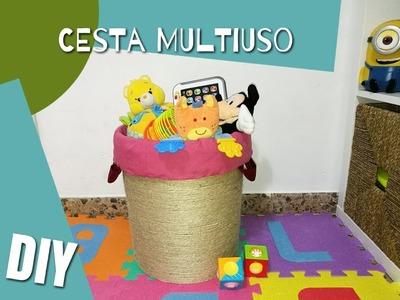 DIY- Cesta multiuso,reciclando cubo de pintura. Multipurpose basket by recycling a paint bucket