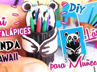 DIY Como hacer Lápices y PORTA Lápices Panda KAWAII para Muñecas Barbie, Manualidades miniaturas