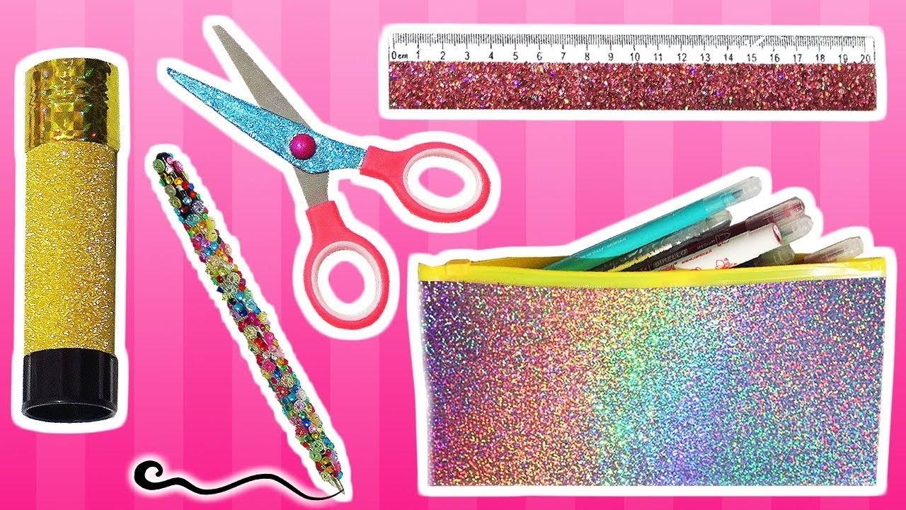 ★ DIY: Decora tus Útiles Escolares con Glitter o Purpurina.Diamantina    Vuelta a clases ★