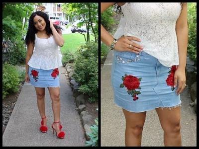 DIY Transforma un pantalón jeans en falda.DIY Turn Your Old Jeans Into Skirt