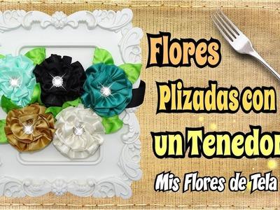Flores de tela con Tenedor - Cinturon con Flores DIY Tutorial