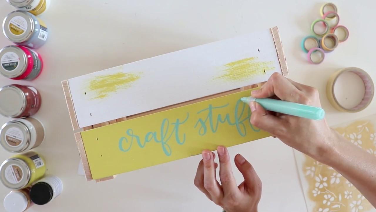 Pintura+stencils+decoupage+lettering en una caja de madera
