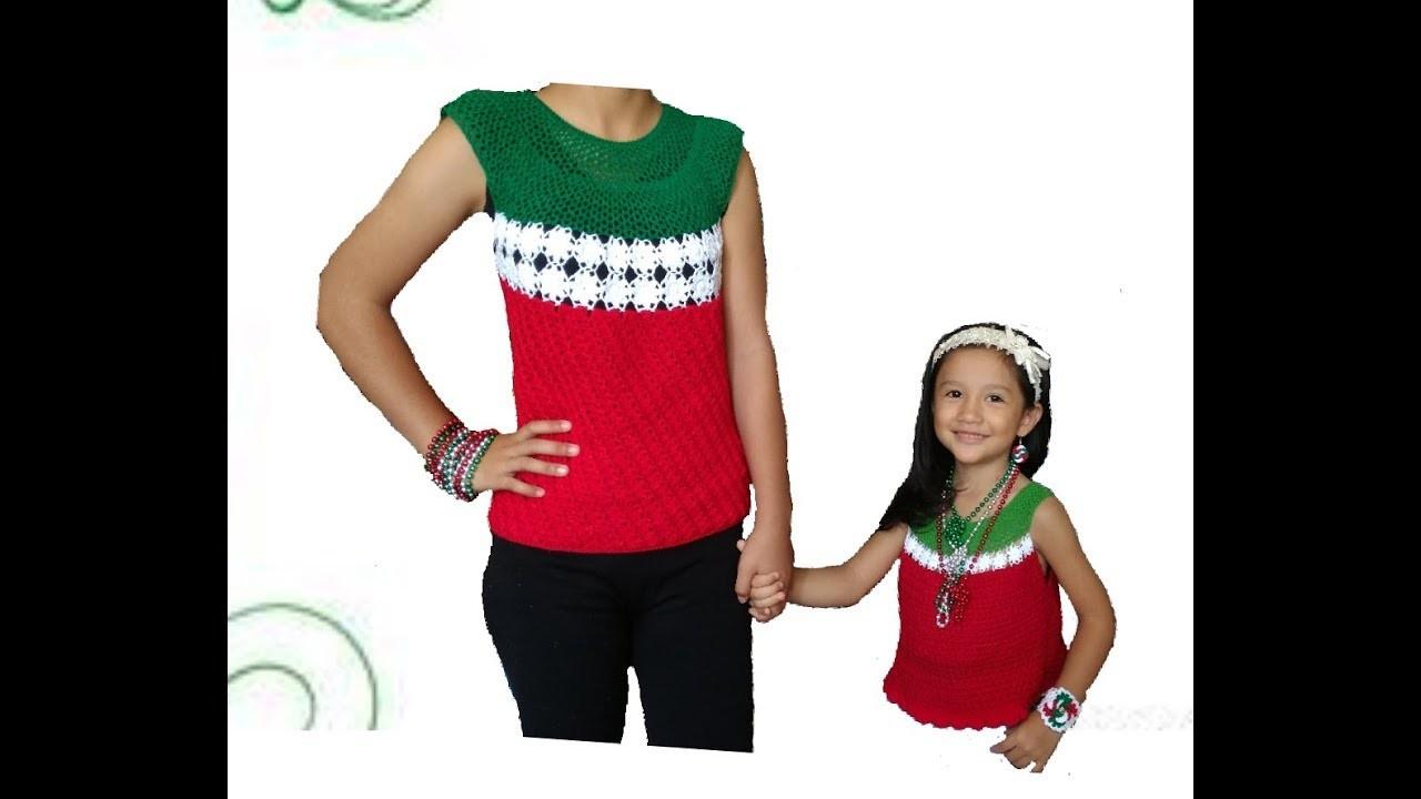 Blusa a crochet para fiestas patrias Parte#2. Crochet blouse for Mexican party