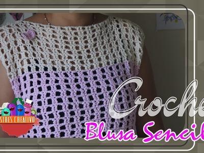 BLUSA CUELLO OJAL (crochet)