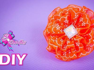 Como hacer flores: Flores de Cinta Chifon | Video# 48 | SDetalles | DIY