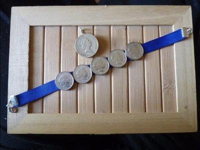 Como hacer una pulsera y un colgante con monedas DIY