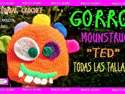 "Cómo tejer un Gorro Mounstruo a Crochet ""Ted"" por Maricita Colours"