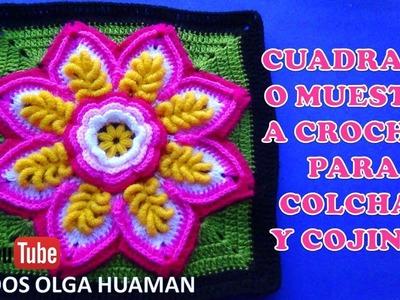 Cuadrado o Muestra a Crochet flor en puntos Rococo paso a paso en video tutorial para COLCHAS
