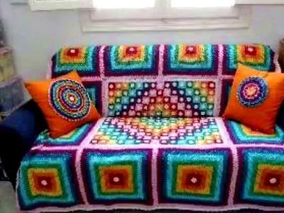 Cubre sillon y cama tejido a Crochet ganchillo